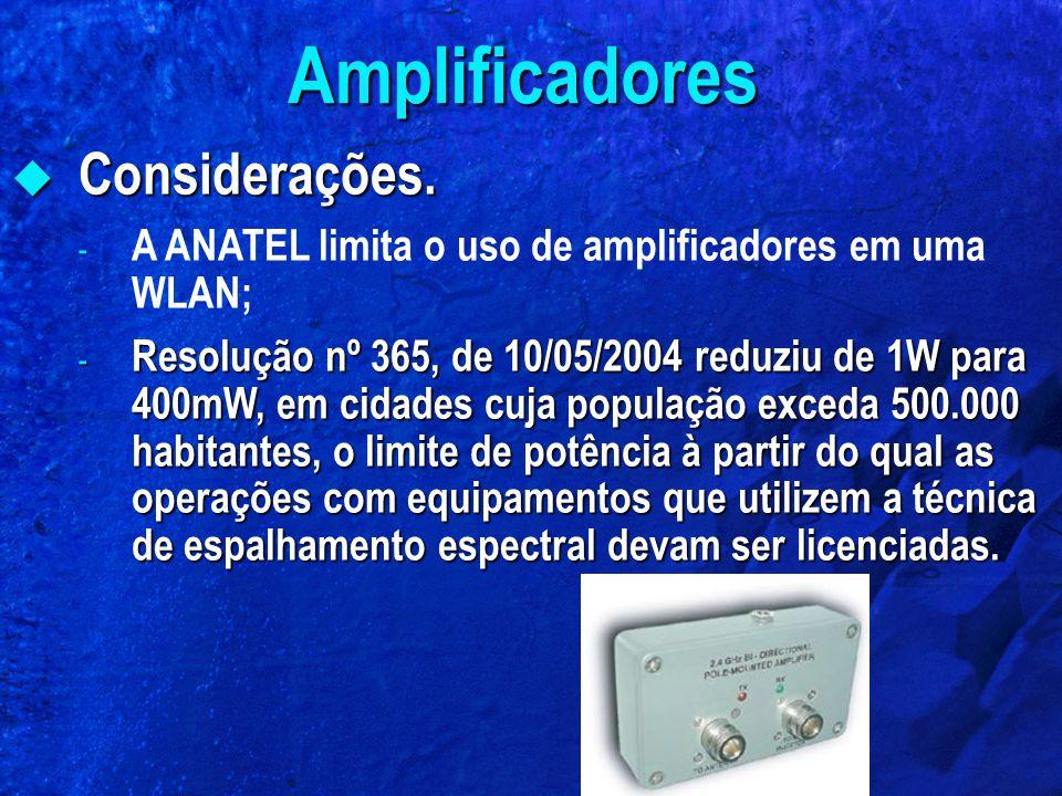Considerações. Considerações. - A ANATEL limita o uso de amplificadores em uma WLAN; - Resolução nº 365, de 10/05/2004 reduziu de 1W para 400mW, em ci