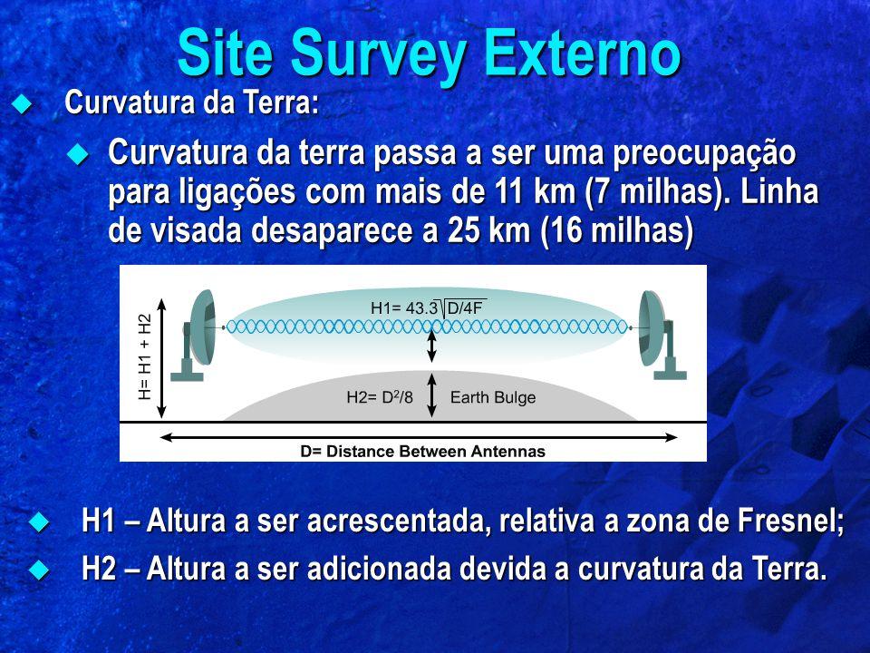 Curvatura da Terra: Curvatura da Terra: Curvatura da terra passa a ser uma preocupação para ligações com mais de 11 km (7 milhas). Linha de visada des