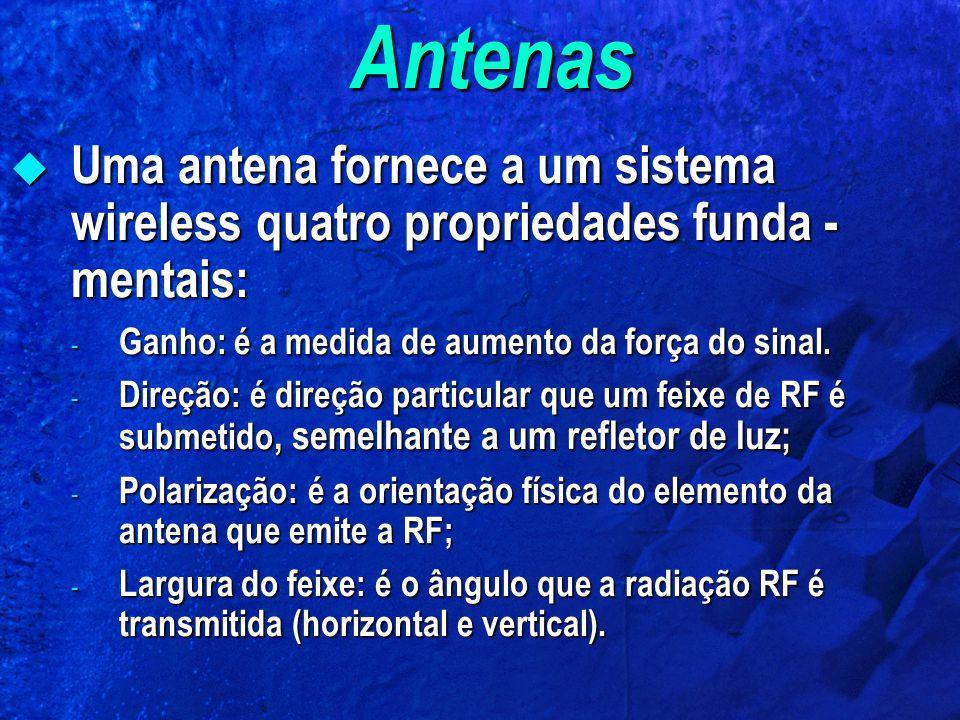 Antenas Uma antena fornece a um sistema wireless quatro propriedades funda - mentais: Uma antena fornece a um sistema wireless quatro propriedades funda - mentais: - Ganho: é a medida de aumento da força do sinal.