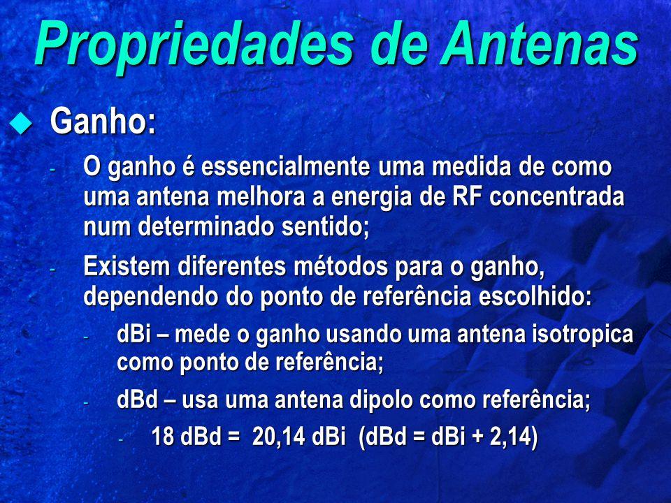 Propriedades de Antenas Ganho: Ganho: - O ganho é essencialmente uma medida de como uma antena melhora a energia de RF concentrada num determinado sen