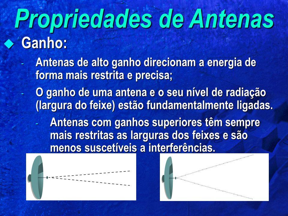 Propriedades de Antenas Ganho: Ganho: - Antenas de alto ganho direcionam a energia de forma mais restrita e precisa; - O ganho de uma antena e o seu n
