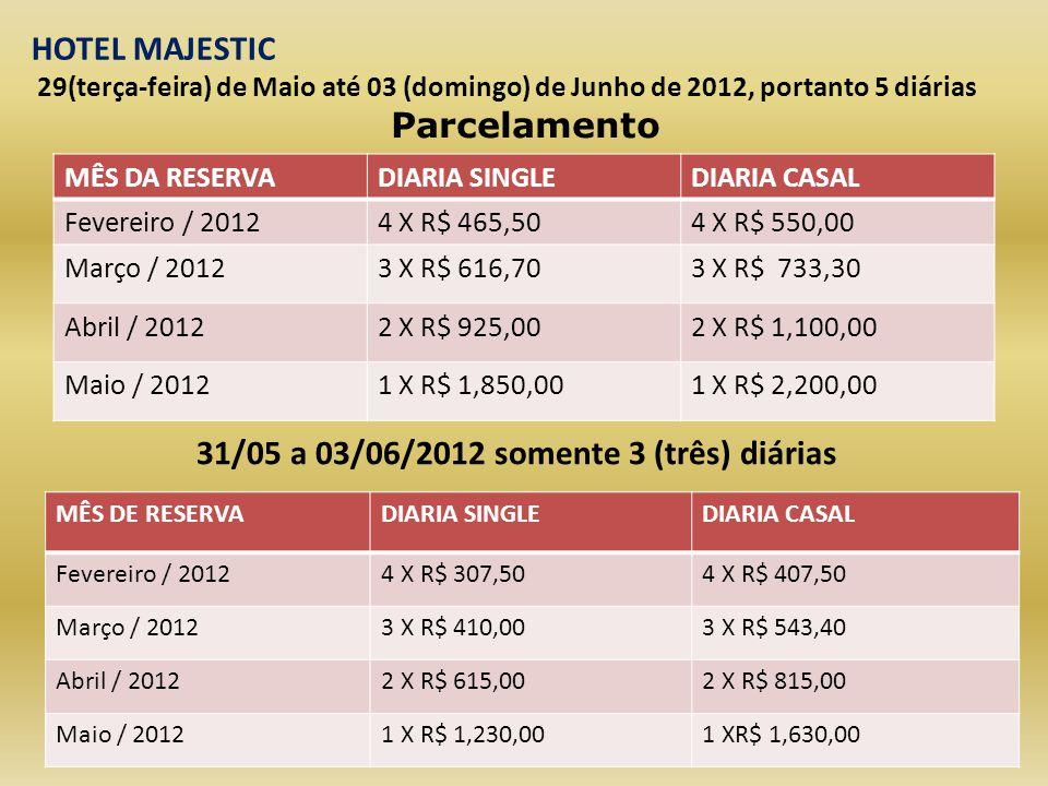 PERIODO CONJUNTO DO CG E CONVENÇÃO 29(terça-feira) de Maio até 03 (domingo) de Junho de 2012, portanto 5 diárias: APTO DUPLO: R$ 2.200,00 APTO SINGLE: R$ 1.850,00 CRIANÇA ATE 3 ANOS: CORTESIA CRIANÇA DE 3 A 6 ANOS: PACOTE DE R$ 380,00 CRIANÇA DE 6 A 11 ANOS: PACOTE DE 520,00 HOTEL MAJESTIC 9 PAGAMENTOS OU EM VEZES ATÉ O PAGTO FINAL EM 25/05/2012.