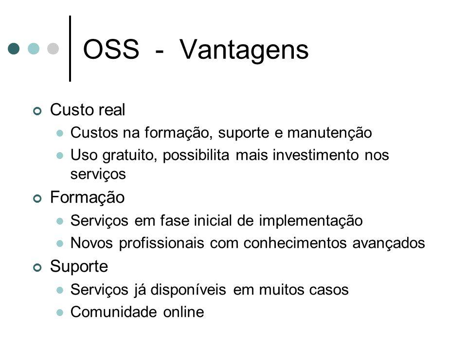OSS - Vantagens Custo real Custos na formação, suporte e manutenção Uso gratuito, possibilita mais investimento nos serviços Formação Serviços em fase