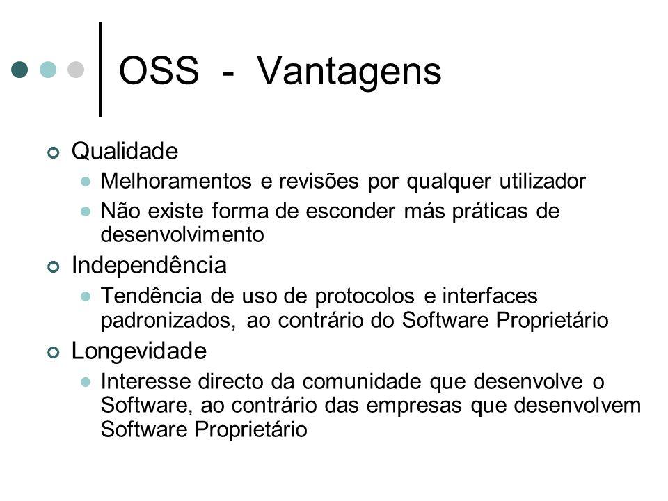 OSS - Vantagens Qualidade Melhoramentos e revisões por qualquer utilizador Não existe forma de esconder más práticas de desenvolvimento Independência Tendência de uso de protocolos e interfaces padronizados, ao contrário do Software Proprietário Longevidade Interesse directo da comunidade que desenvolve o Software, ao contrário das empresas que desenvolvem Software Proprietário