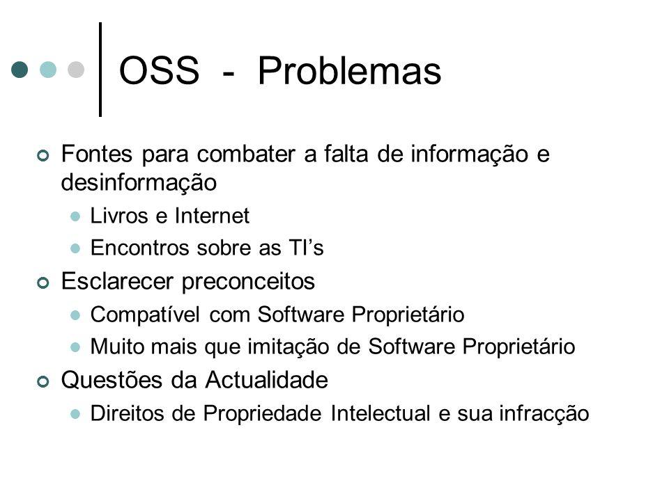 OSS - Problemas Fontes para combater a falta de informação e desinformação Livros e Internet Encontros sobre as TIs Esclarecer preconceitos Compatível