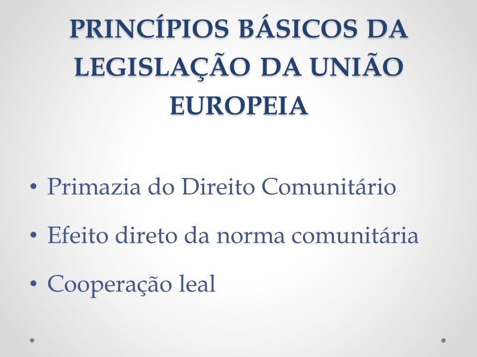 PRINCÍPIOS BÁSICOS DA LEGISLAÇÃO DA UNIÃO EUROPEIA Primazia do Direito Comunitário Efeito direto da norma comunitária Cooperação leal