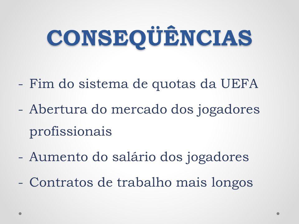 CONSEQÜÊNCIAS -Fim do sistema de quotas da UEFA -Abertura do mercado dos jogadores profissionais -Aumento do salário dos jogadores -Contratos de traba