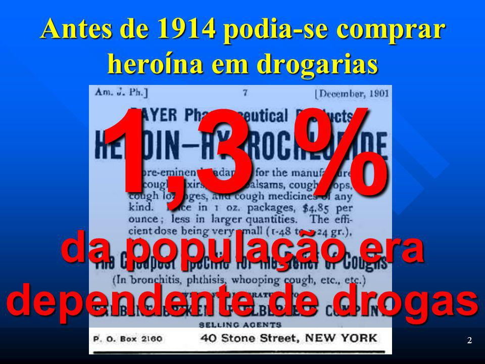 2 Antes de 1914 podia-se comprar hero í na em drogarias 1,3 % da população era dependente de drogas