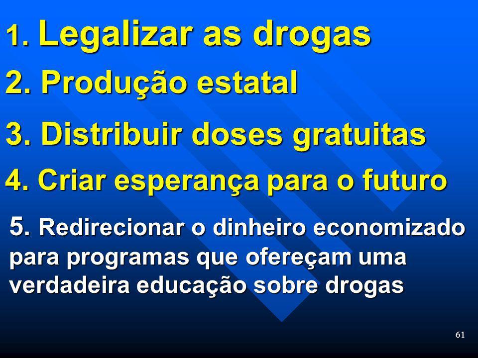 60 Resultados do oferecimento de esperan ç a para o futuro das pessoas Menos necessidade de usar drogas Menos dependentes de drogas