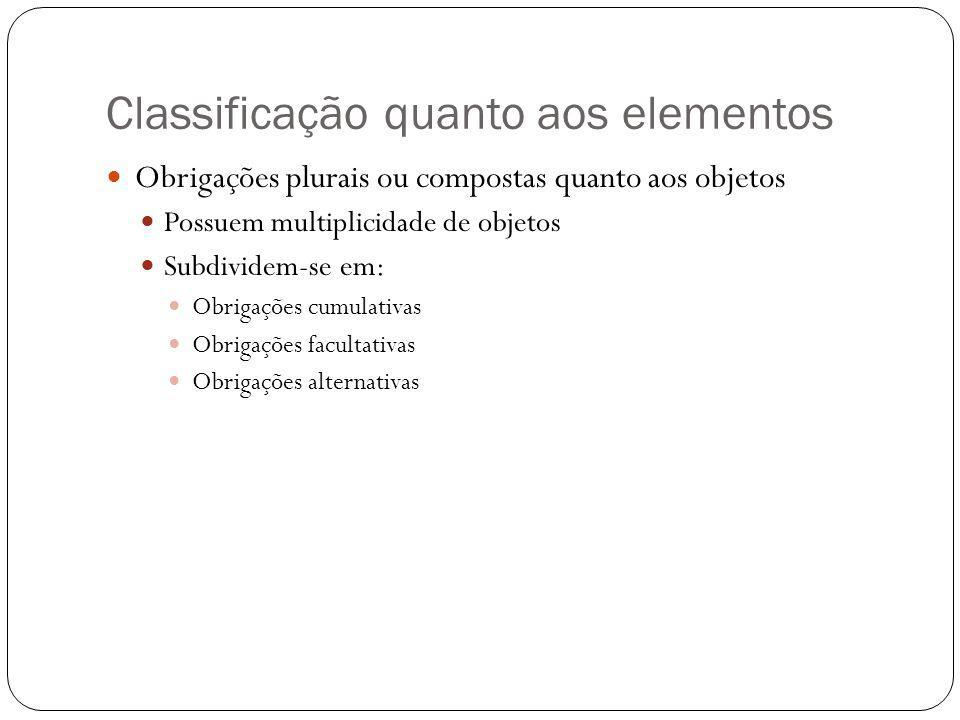 Classificação quanto aos elementos Obrigações plurais ou compostas quanto aos objetos Possuem multiplicidade de objetos Subdividem-se em: Obrigações cumulativas Obrigações facultativas Obrigações alternativas