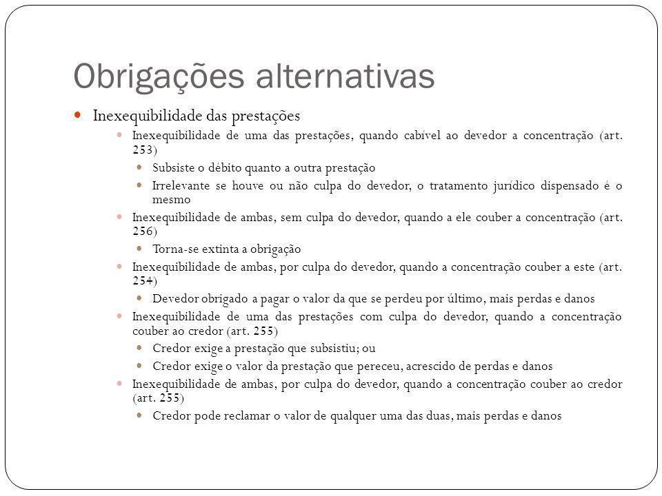 Obrigações alternativas Inexequibilidade das prestações Inexequibilidade de uma das prestações, quando cabível ao devedor a concentração (art. 253) Su