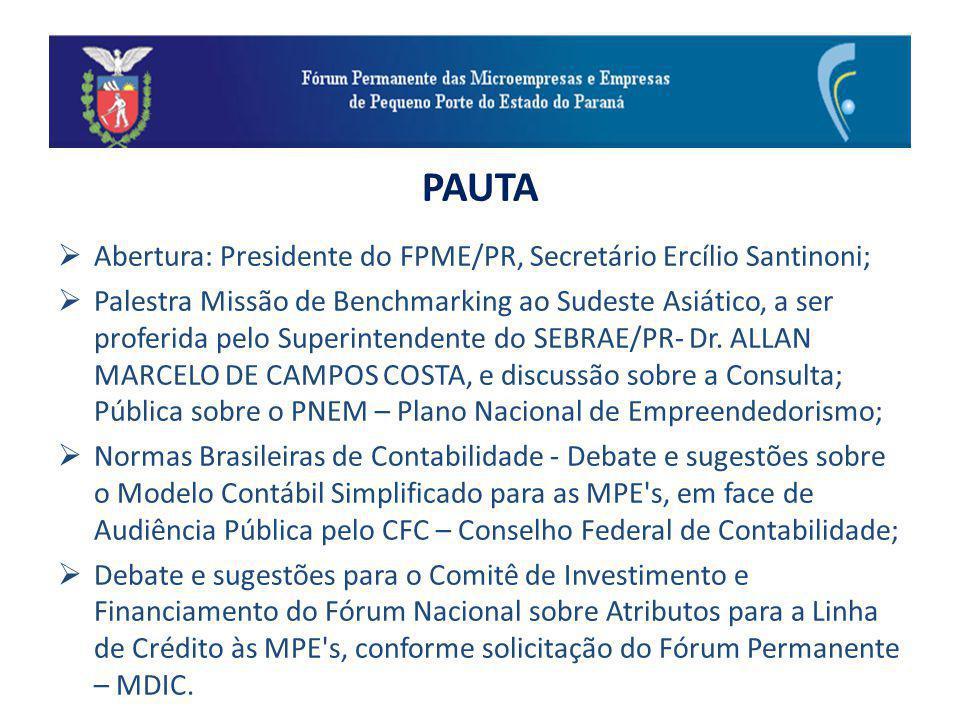 PAUTA Abertura: Presidente do FPME/PR, Secretário Ercílio Santinoni; Palestra Missão de Benchmarking ao Sudeste Asiático, a ser proferida pelo Superintendente do SEBRAE/PR- Dr.