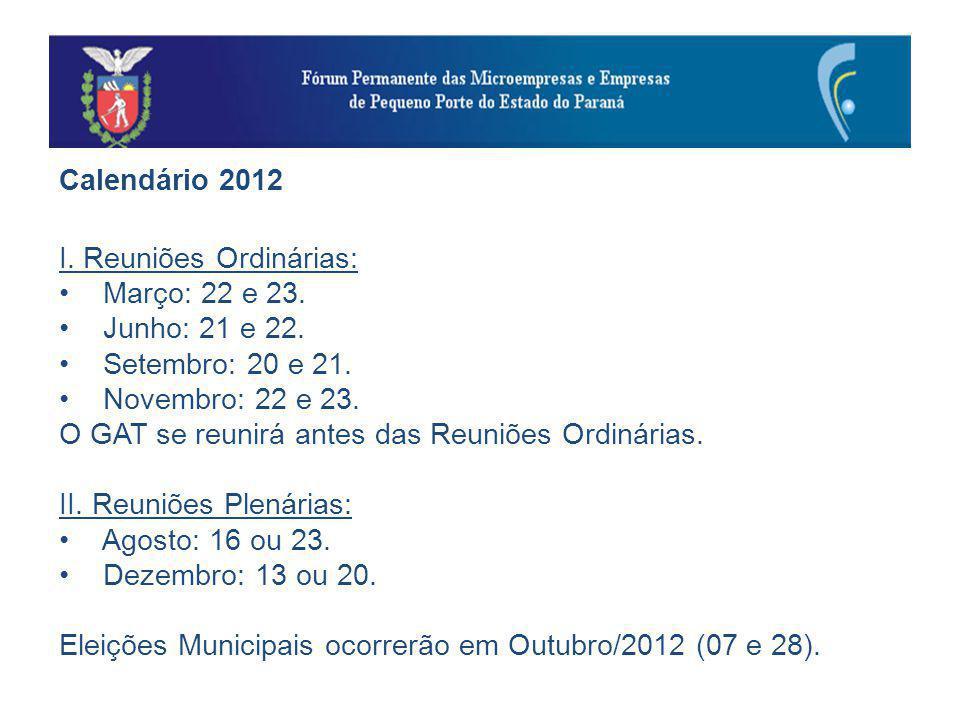 Calendário 2012 I. Reuniões Ordinárias: Março: 22 e 23.