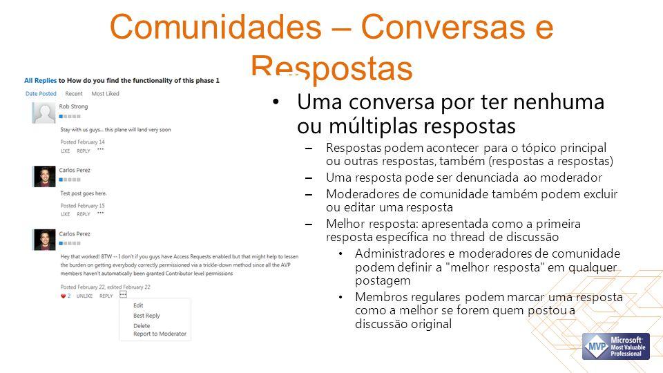 Comunidades – Conversas e Respostas Uma conversa por ter nenhuma ou múltiplas respostas – Respostas podem acontecer para o tópico principal ou outras