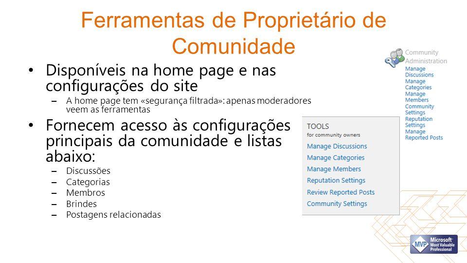 Ferramentas de Proprietário de Comunidade Disponíveis na home page e nas configurações do site – A home page tem «segurança filtrada»: apenas moderado