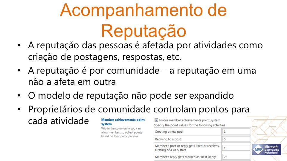 Acompanhamento de Reputação A reputação das pessoas é afetada por atividades como criação de postagens, respostas, etc. A reputação é por comunidade –