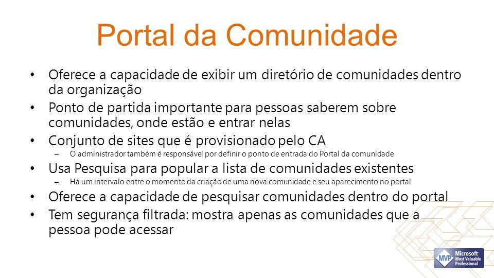 Portal da Comunidade Oferece a capacidade de exibir um diretório de comunidades dentro da organização Ponto de partida importante para pessoas saberem