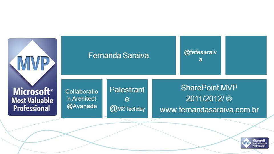 Fernanda Saraiva SharePoint MVP 2011/2012/ www.fernandasaraiva.com.br @fefesaraiv a Collaboratio n Architect @Avanade Palestrant e @ MSTechday