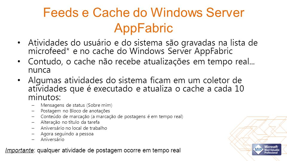 Feeds e Cache do Windows Server AppFabric Atividades do usuário e do sistema são gravadas na lista de microfeed* e no cache do Windows Server AppFabri