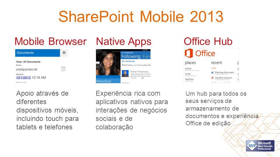 SharePoint Mobile 2013 Mobile Browser Apoio através de diferentes dispositivos móveis, incluindo touch para tablets e telefones Native Apps Experiênci