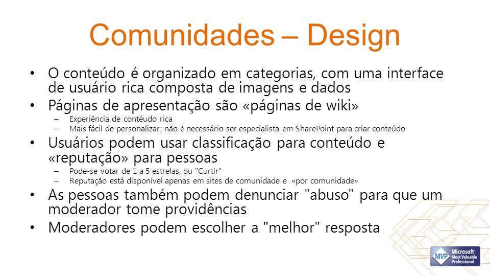Comunidades – Design O conteúdo é organizado em categorias, com uma interface de usuário rica composta de imagens e dados Páginas de apresentação são