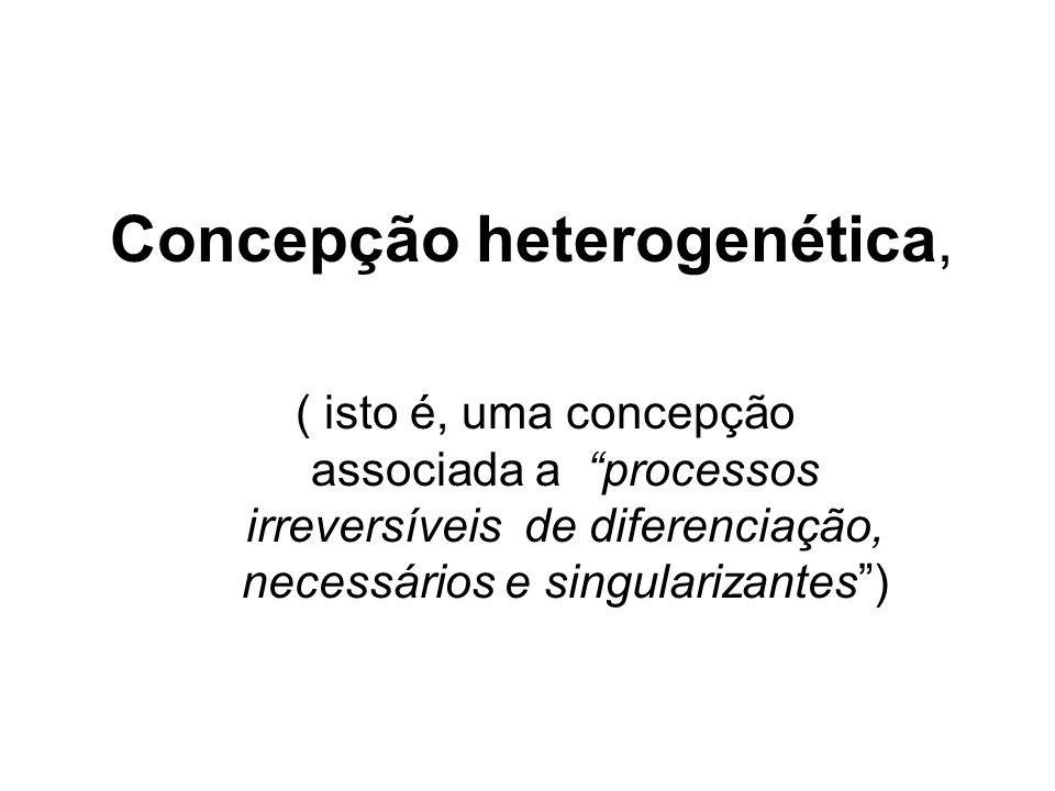 Concepção heterogenética, ( isto é, uma concepção associada a processos irreversíveis de diferenciação, necessários e singularizantes)