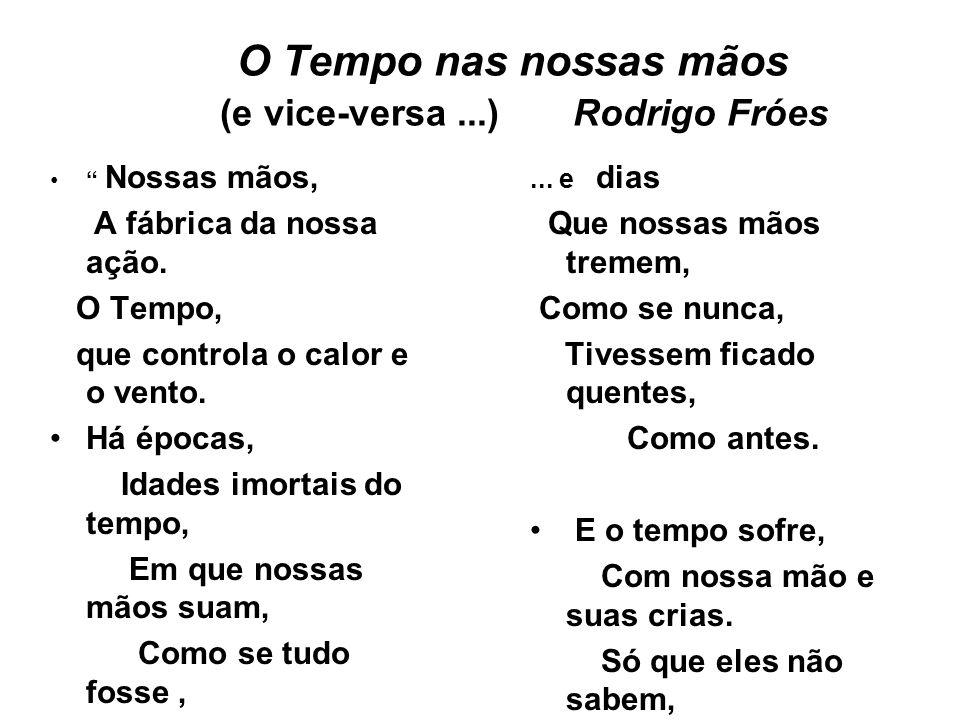 O Tempo nas nossas mãos (e vice-versa...) Rodrigo Fróes Nossas mãos, A fábrica da nossa ação.