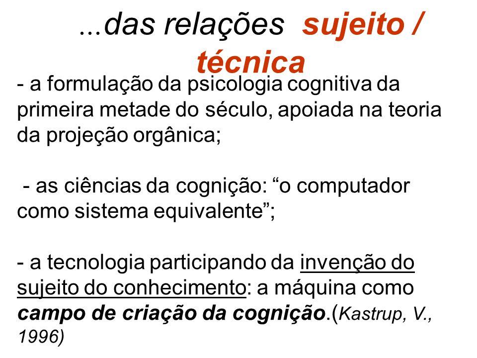 ... das relações sujeito / técnica - a formulação da psicologia cognitiva da primeira metade do século, apoiada na teoria da projeção orgânica; - as c