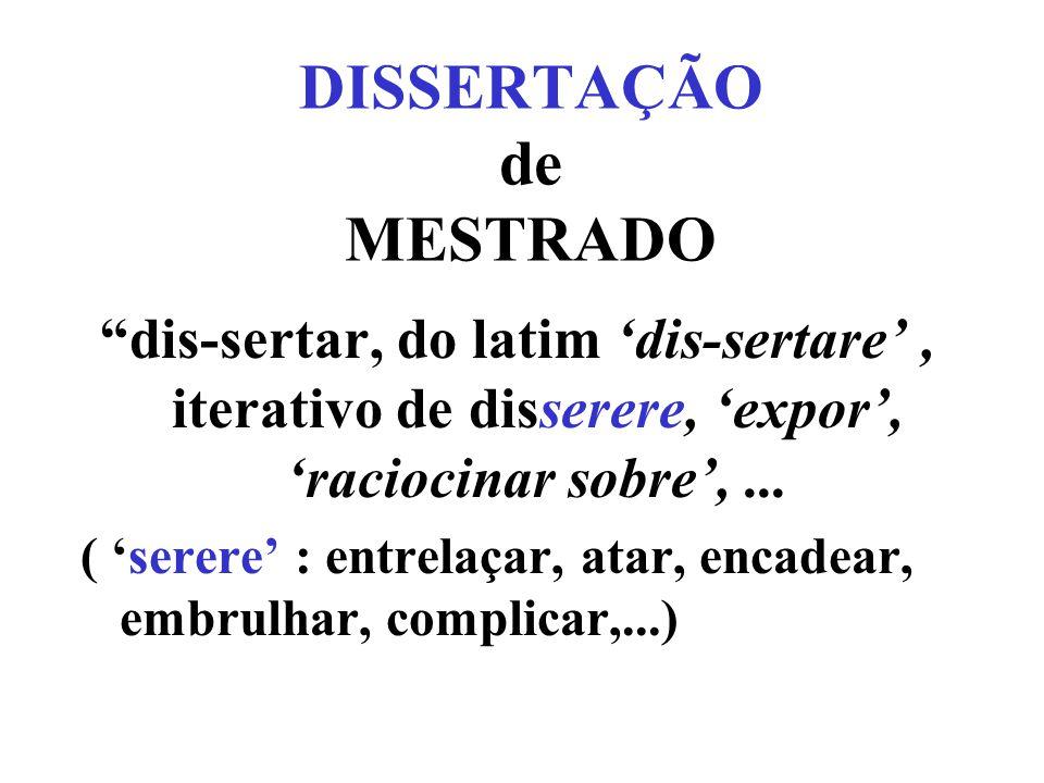 DISSERTAÇÃO de MESTRADO dis-sertar, do latim dis-sertare, iterativo de disserere, expor, raciocinar sobre,...