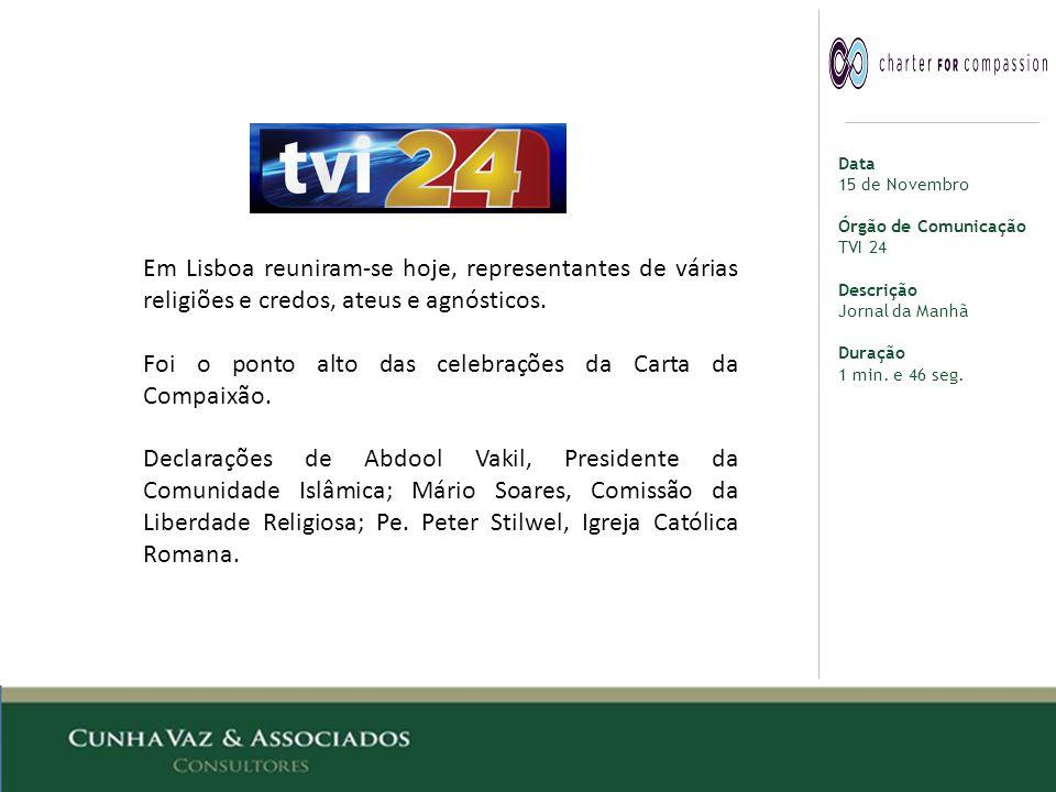 Data 15 de Novembro Órgão de Comunicação TVI 24 Descrição Jornal da Manhã Duração 1 min.