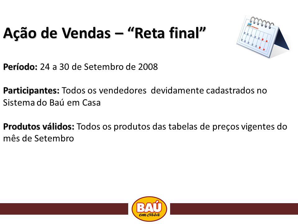 Ação de Vendas – Reta final Período: Período: 24 a 30 de Setembro de 2008 Participantes: Participantes: Todos os vendedores devidamente cadastrados no