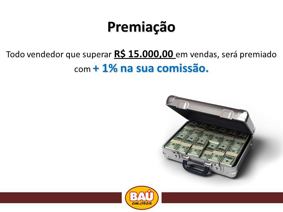 Premiação + 1% na sua comissão. Todo vendedor que superar R$ 15.000,00 em vendas, será premiado com + 1% na sua comissão.
