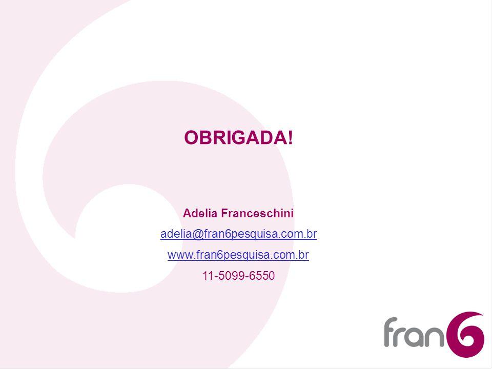 OBRIGADA! Adelia Franceschini adelia@fran6pesquisa.com.br www.fran6pesquisa.com.br 11-5099-6550