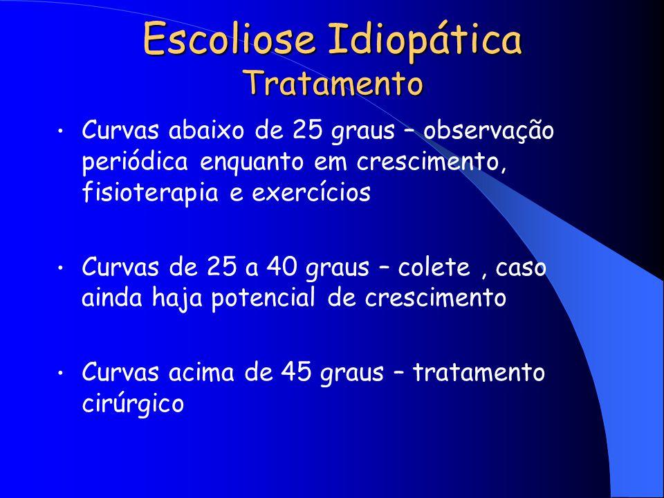 Escoliose Idiopática Tratamento Curvas abaixo de 25 graus – observação periódica enquanto em crescimento, fisioterapia e exercícios Curvas de 25 a 40