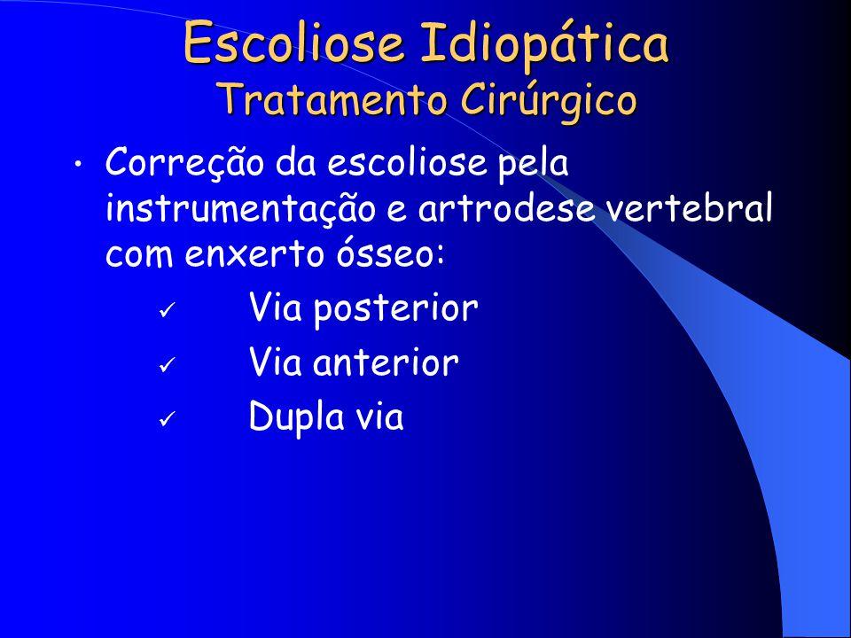 Escoliose Idiopática Tratamento Cirúrgico Correção da escoliose pela instrumentação e artrodese vertebral com enxerto ósseo: Via posterior Via anterio