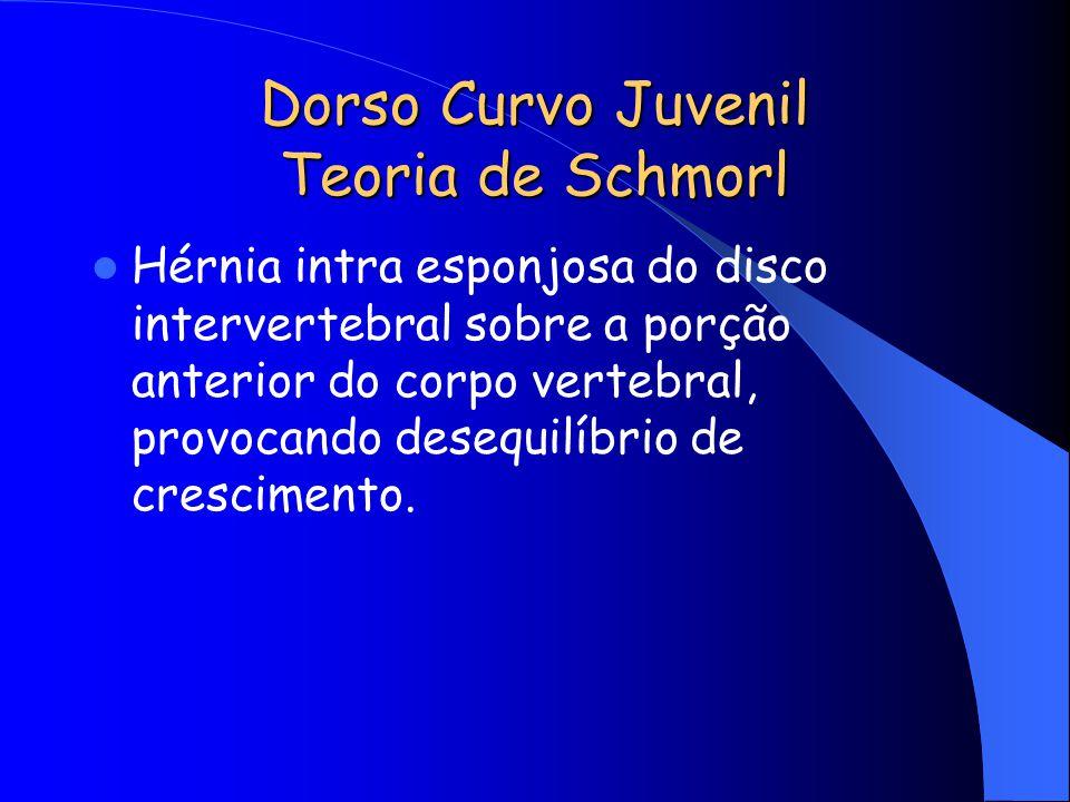 Dorso Curvo Juvenil Teoria de Schmorl Hérnia intra esponjosa do disco intervertebral sobre a porção anterior do corpo vertebral, provocando desequilíb