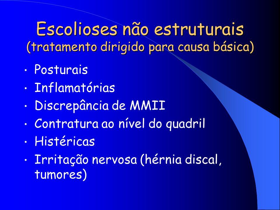 Escolioses não estruturais (tratamento dirigido para causa básica) Posturais Inflamatórias Discrepância de MMII Contratura ao nível do quadril Histéri