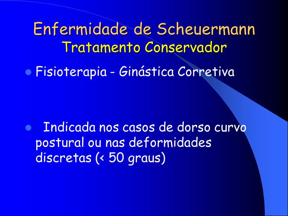 Enfermidade de Scheuermann Tratamento Conservador Fisioterapia - Ginástica Corretiva Indicada nos casos de dorso curvo postural ou nas deformidades di