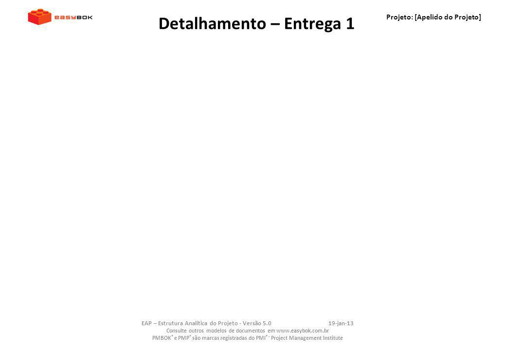 Projeto: [Apelido do Projeto] EAP – Estrutura Analítica do Projeto - Versão 5.019-jan-13 Consulte outros modelos de documentos em www.easybok.com.br P