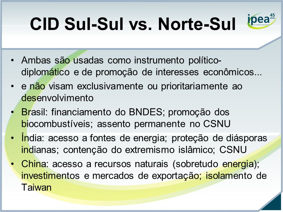 CID Sul-Sul vs. Norte-Sul Ambas são usadas como instrumento político- diplomático e de promoção de interesses econômicos... e não visam exclusivamente