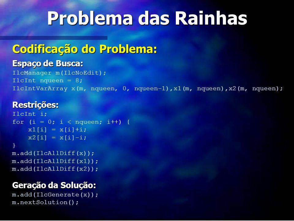 Problema das Rainhas Codificação do Problema: Espaço de Busca: IlcManager m(IlcNoEdit); IlcInt nqueen = 8; IlcIntVarArray x(m, nqueen, 0, nqueen-1),x1