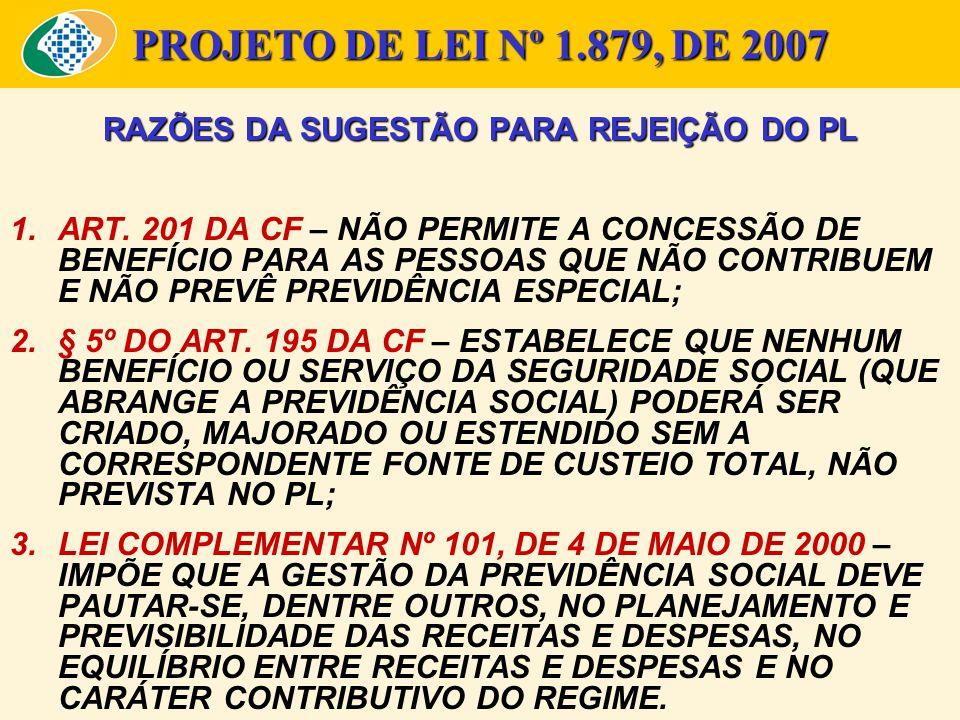 PROJETO DE LEI Nº 1.879, DE 2007 RAZÕES DA SUGESTÃO PARA REJEIÇÃO DO PL 1.ART. 201 DA CF – NÃO PERMITE A CONCESSÃO DE BENEFÍCIO PARA AS PESSOAS QUE NÃ