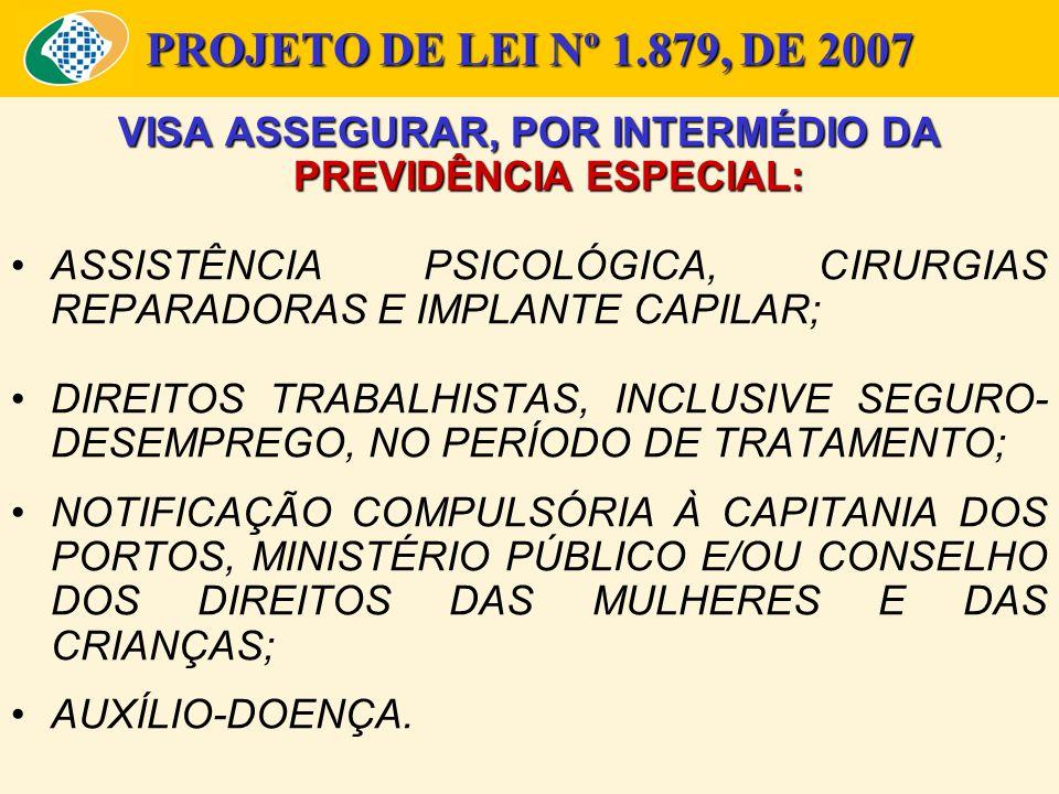 PROJETO DE LEI Nº 1.879, DE 2007 JUSTIFICATIVAS: DAR ÀS VÍTIMAS UMA ASSISTÊNCIA SOCIAL DIFERENCIADA; PROPICIAR CIRURGIA PLÁSTICA REPARADORA OU IMPLANTE CAPILAR GRATUITOS, HAJA VISTA QUE A MAIORIA DOS ACIDENTES OCORREM COM MULHERES CUJA CONDIÇÃO SOCIO-ECONÔMICA NÃO PERMITE ARCAR COM ESTAS DESPESAS.