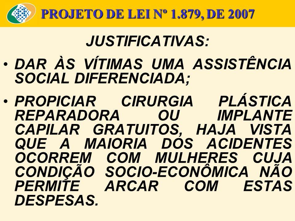 PROJETO DE LEI Nº 1.879, DE 2007 JUSTIFICATIVAS: DAR ÀS VÍTIMAS UMA ASSISTÊNCIA SOCIAL DIFERENCIADA; PROPICIAR CIRURGIA PLÁSTICA REPARADORA OU IMPLANT