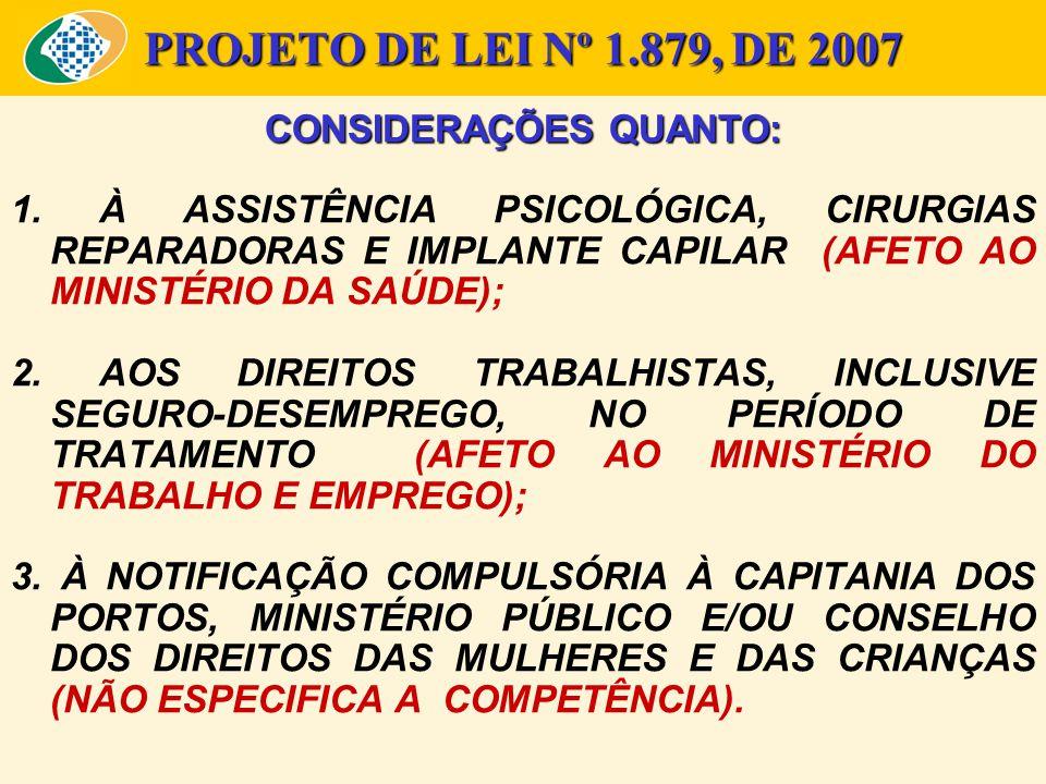 PROJETO DE LEI Nº 1.879, DE 2007 CONSIDERAÇÕES QUANTO: 1. À ASSISTÊNCIA PSICOLÓGICA, CIRURGIAS REPARADORAS E IMPLANTE CAPILAR (AFETO AO MINISTÉRIO DA