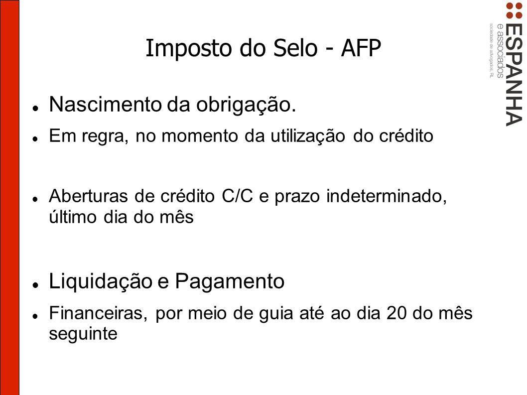 Imposto do Selo - AFP Nascimento da obrigação.