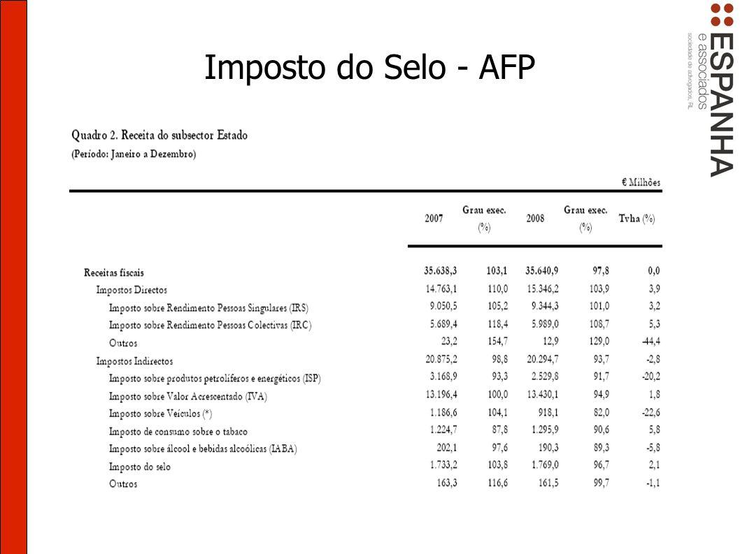 Imposto do Selo - AFP Localização Cobradas em Portugal ou a entidades domiciliadas em Portugal Sujeitos passivos Em regra, IF credoras.