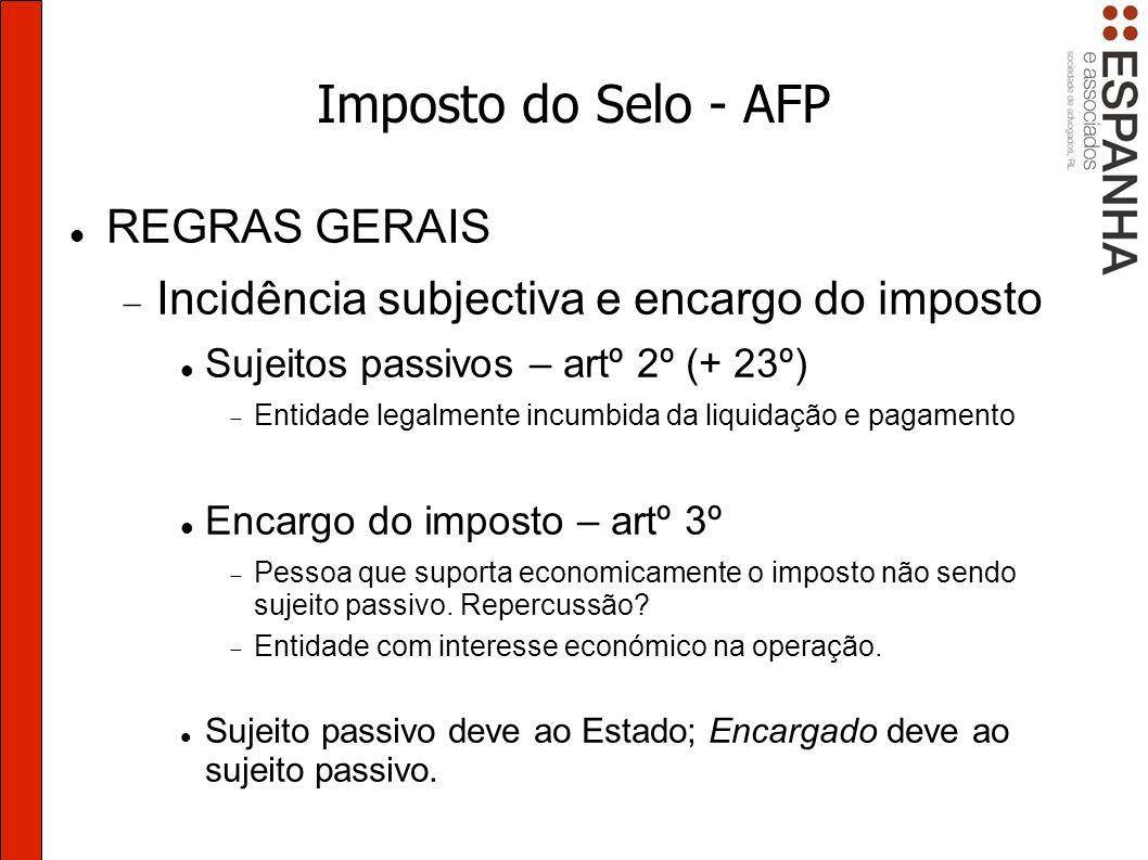 Imposto do Selo - AFP Renegociações Artº 3º do DL 133/2009.