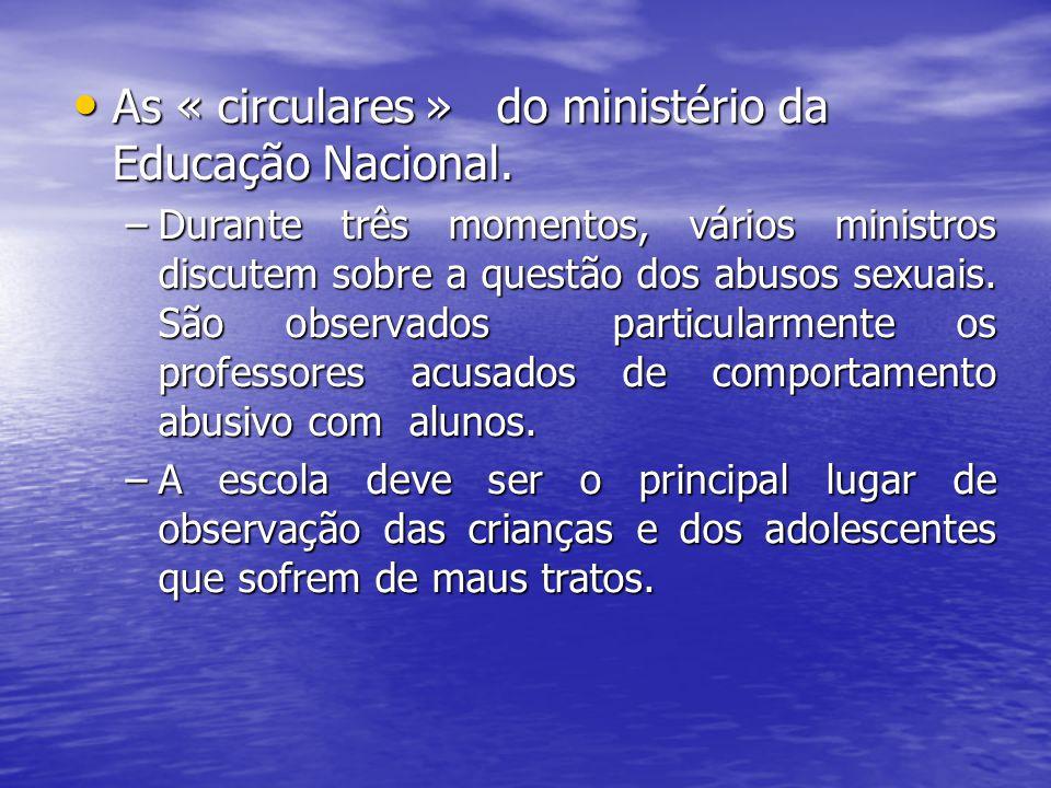 As « circulares » do ministério da Educação Nacional. As « circulares » do ministério da Educação Nacional. –Durante três momentos, vários ministros d