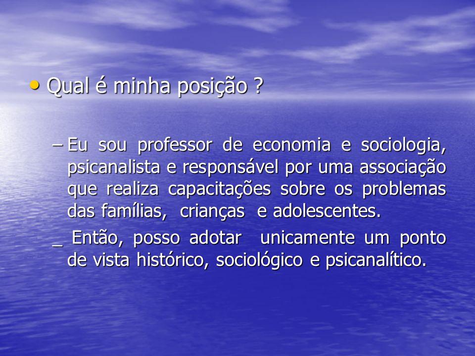 Qual é minha posição ? Qual é minha posição ? –Eu sou professor de economia e sociologia, psicanalista e responsável por uma associação que realiza ca